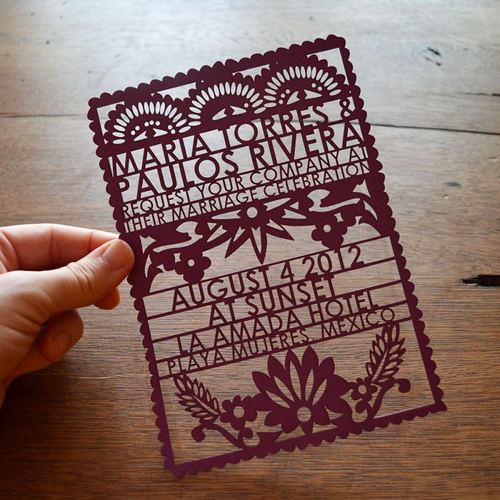 papel picado wedding invitations | Design*Sponge