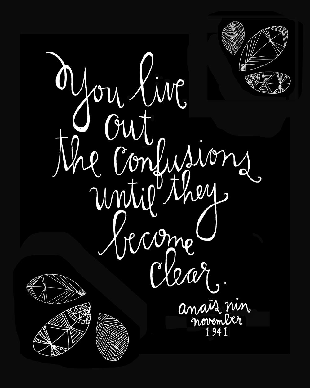You live out the confusions until they become clear.