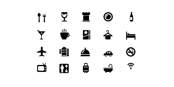 GraphicsFuel.com | 20 Hotel and restaurant glyph icons (Vector PSD)