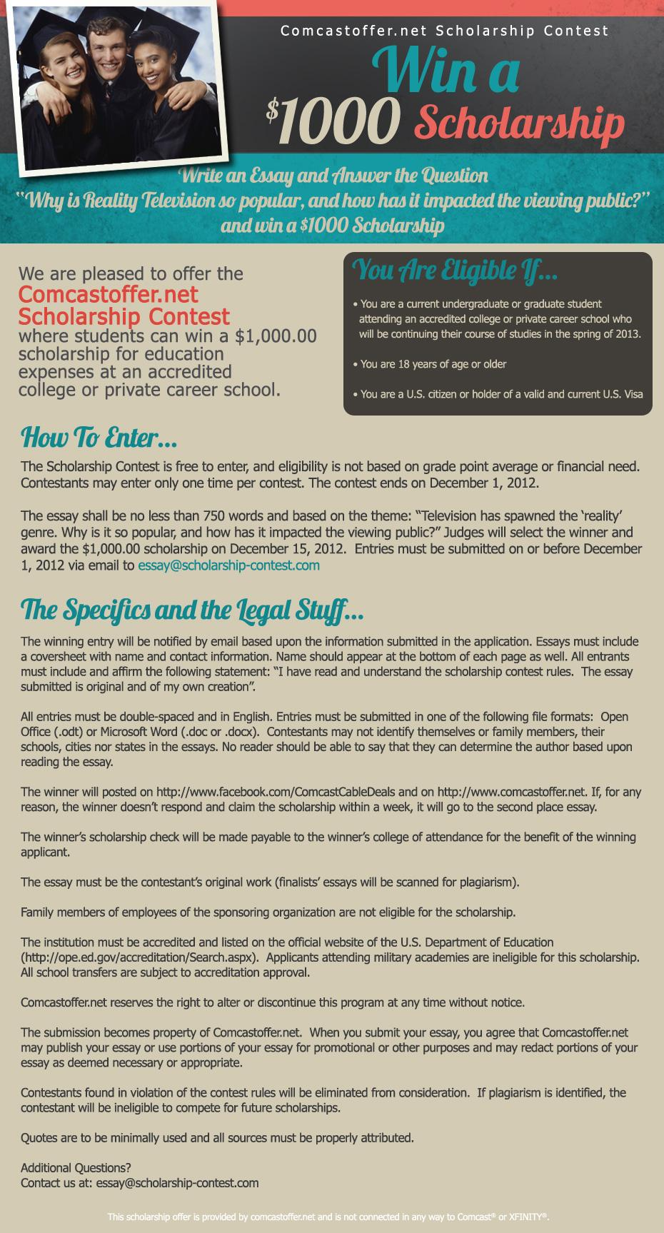 ComcastOffer.net $1000 Scholarship: The Impact of Reality TV