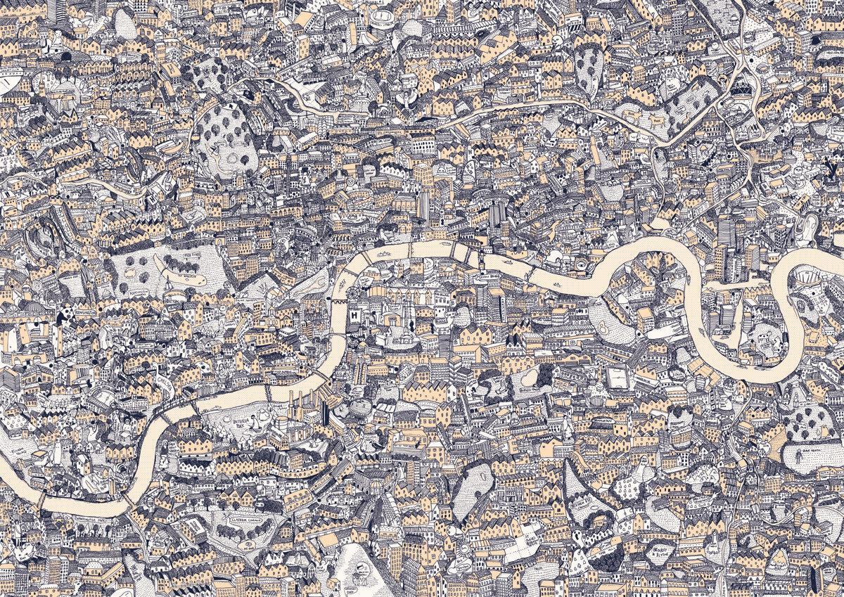 Hand Drawn Map of London Silk Screen Print by ryanrobinson