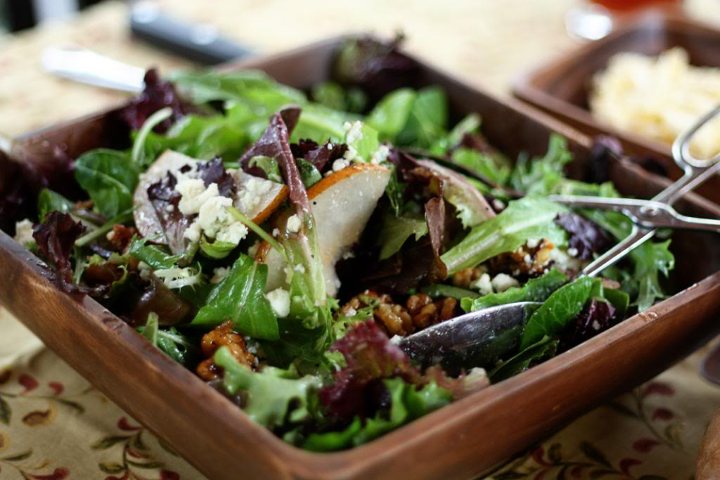 Spring Greens with Pears, Sugared Walnuts & Gorgonzola - Jane Deere on Food, Cooking, Gardening
