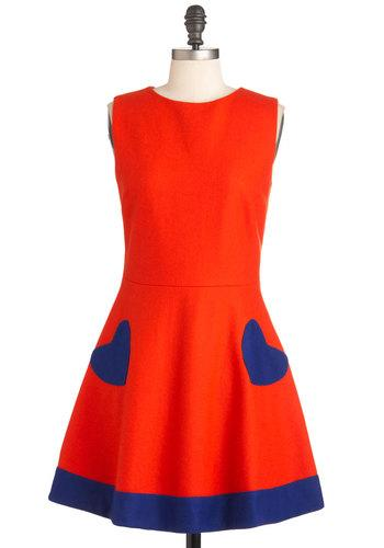 Heart of the Chatter Dress in Red-Orange | Mod Retro Vintage Dresses | ModCloth.com