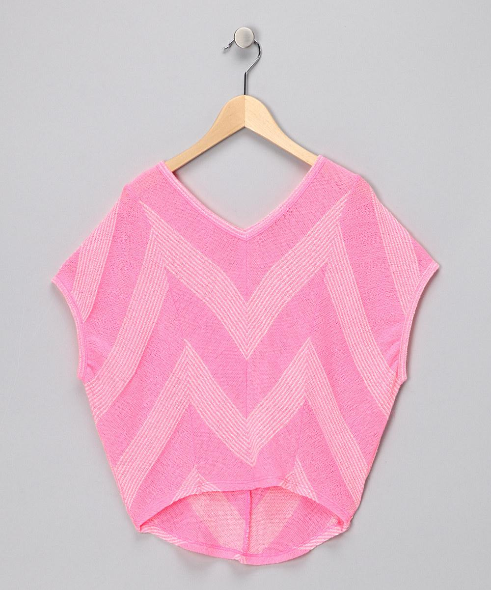 Neon Pink Stripe V-Neck Top - Girls | Daily deals for moms, babies and kids