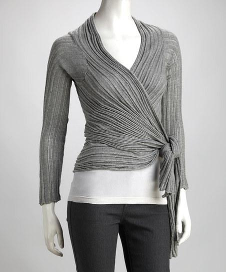 Elan Ash Gray Ribbed Wrap Top | Daily deals for moms, babies and kids