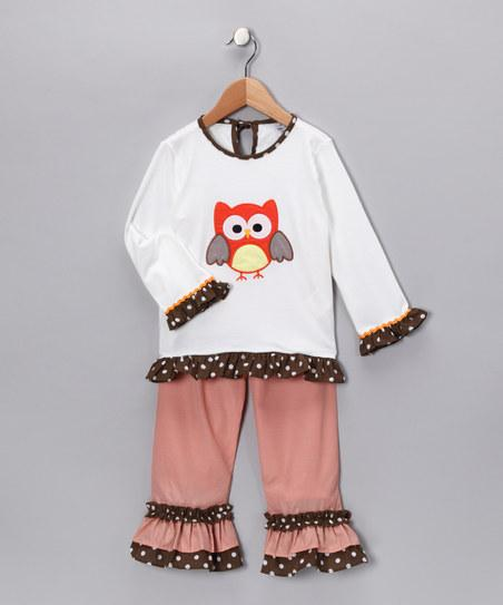 White Owl Top & Ruffle Pants - Toddler & Girls | Daily deals for moms, babies and kids
