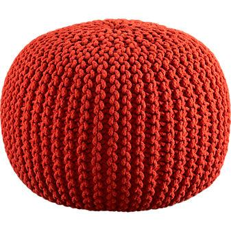 knitted blood orange pouf in ottomans, benches | CB2