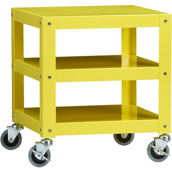 go-cart yellow rolling table in accent tables | CB2
