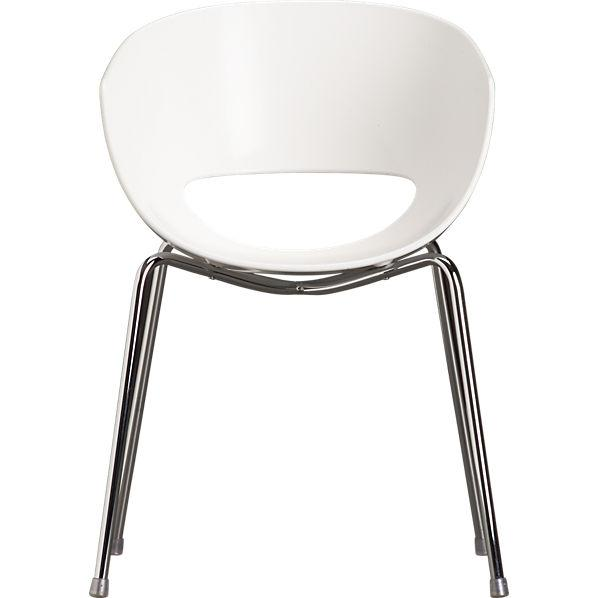 orbit white arm chair in chairs, benches | CB2