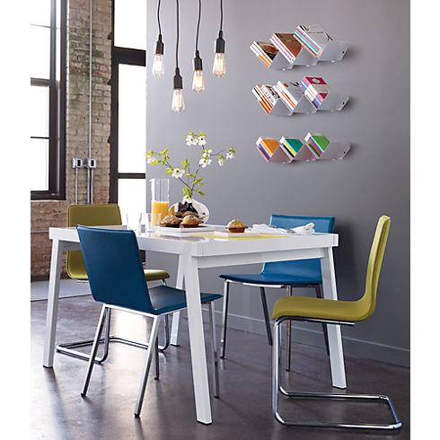 perforated bent metal bookshelf in wall mounted storage | CB2
