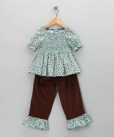 Aqua & Brown Floral Top & Corduroy Pants - Toddler & Girls | Daily deals for moms, babies and kids