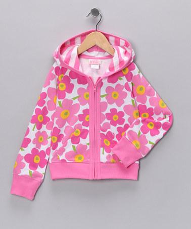 Pink Floral Stripe Zip-Up Hoodie - Toddler & Girls | Daily deals for moms, babies and kids
