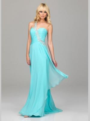 Buy Graceful Blue Column One-Shoulder Chiffon Full Length Homecoming Dress under 200-SinoAnt.com