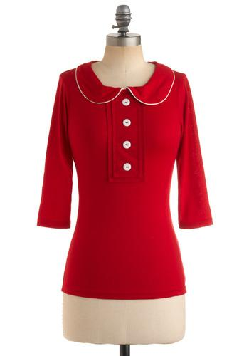 Red-y for Fun Top | Mod Retro Vintage Long Sleeve Shirts | ModCloth.com