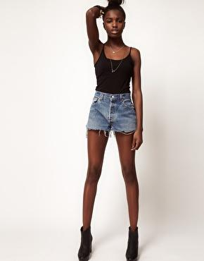 Reclaimed Vintage | Reclaimed Vintage Levi's Shorts With High Waist In Dark Stonewash at ASOS