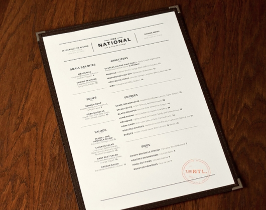 Designspiration — Art of the Menu: The National