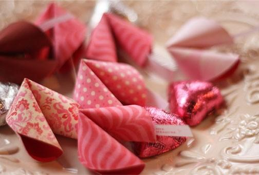 How to Throw a Love Letter Party / Patterned paper fortune cookies with valentine messages in them