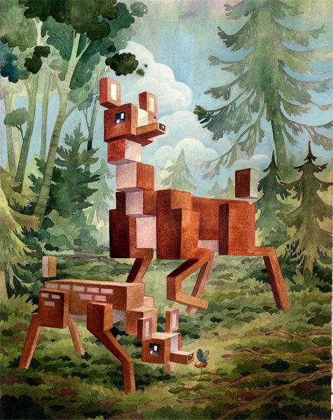 Animal Pixel Series Deer13 x 19 print by PrintsByLaura on Etsy