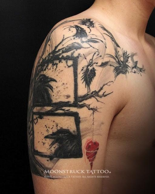 tattoo / crow / tree / heart (Moonstruck Tattoo)