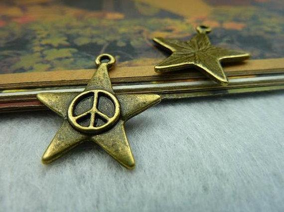 20pcs 22x24mm bronze peace pentagram c2139 by bjerkf on Etsy