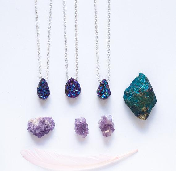Titanium druzy necklace rainbow aura last one par StillWithYou