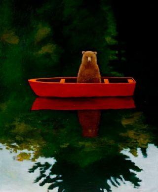 Bear in Boat by Joyce Koskenmaki