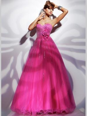 Buy Charming Fuchsia Ball Gown Sweetheart Neckline Sequins Floor Length Tulle Graduation Dress under 200-SinoAnt.com