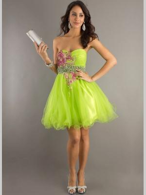 Buy Appealing A-line Sweetheart Neckline Mini Tulle Embroidery Graduation Dress under 200-SinoAnt.com