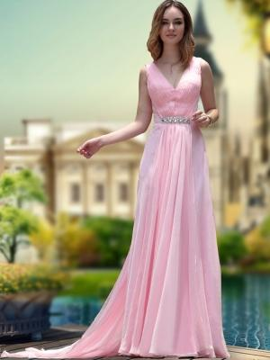 Buy A-line Pink V-neck Pleat Chiffon Homecoming Dress under 300-SinoAnt.com
