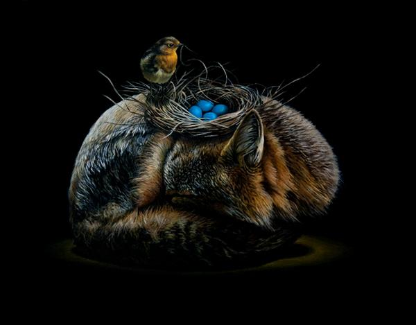 Animalistic art with surreal elements