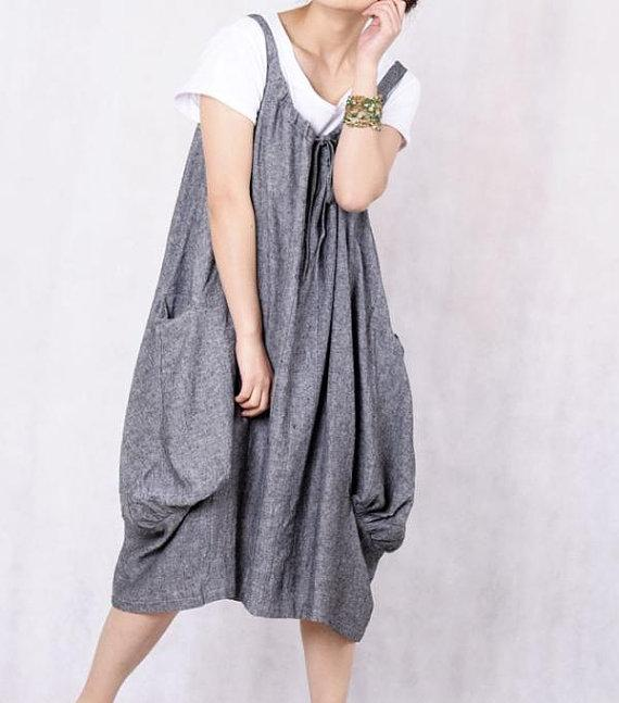 Leap of the heart/ Lovely dark gray linen dress by MaLieb on Etsy