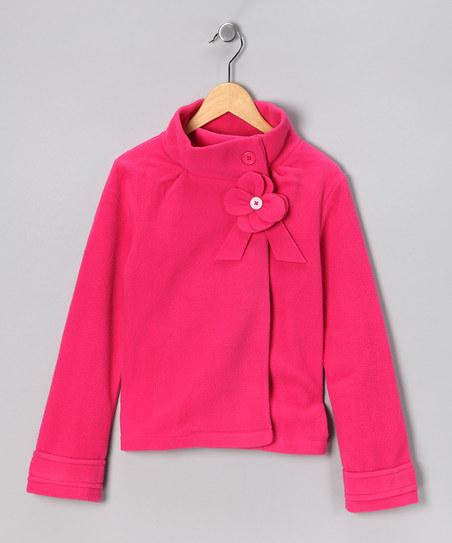 Fuchsia Flower Polar Fleece Jacket | Daily deals for moms, babies and kids