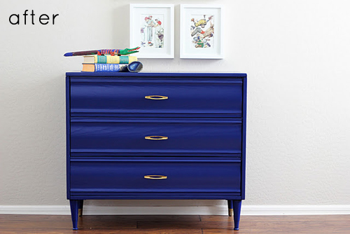 before & after: cobalt blue dresser makeover | Design*Sponge