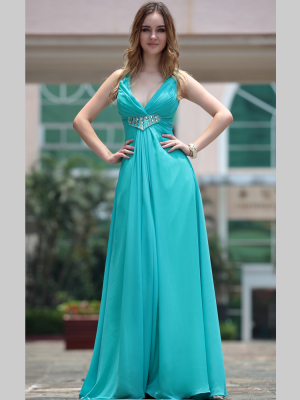 Buy Simple Blue V-neck Empire Waist Chiffon Evening Gown under 200-SinoAnt.com