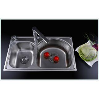Stainless Steel Two Bowls Kitchen Sink – FaucetSuperDeal.com