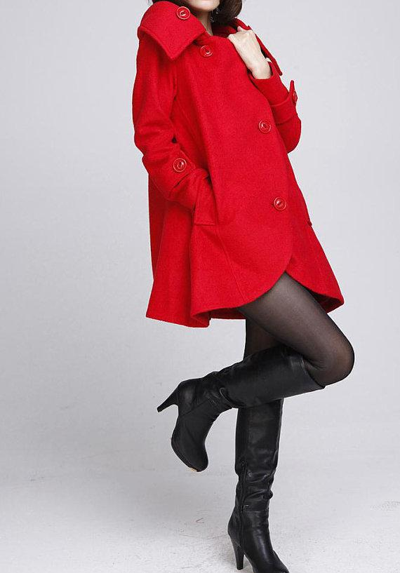 Red cloak wool coat Hooded Cape women Winter wool coat by MaLieb