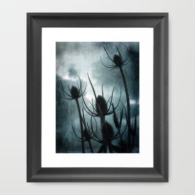 Twilight Teasles Framed Art Print by Ally Coxon   Society6