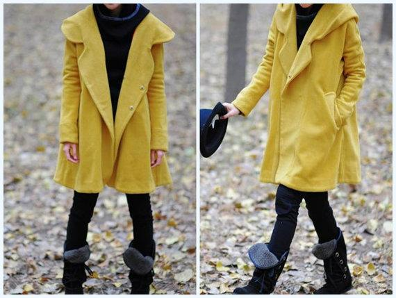 Yellow Hoodie Wool cape winter coat by MaLieb on Etsy