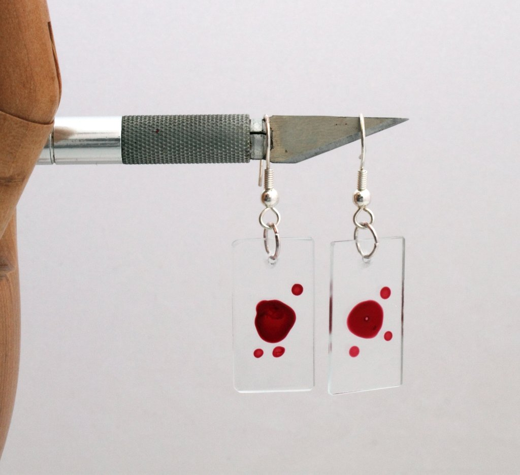Dexter Blood Slide Earrings by `Xerces