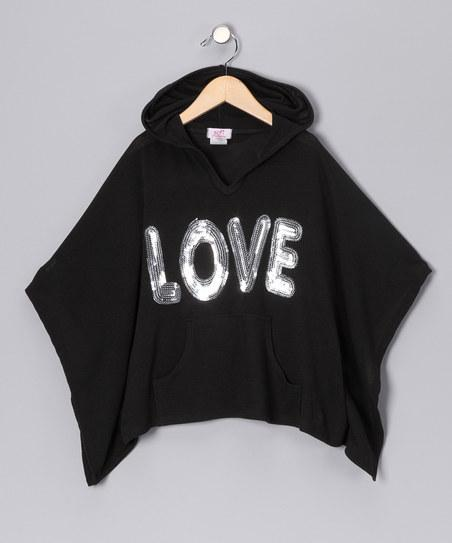 Black 'Love' Cape-Sleeve Top - Toddler & Girls | Daily deals for moms, babies and kids