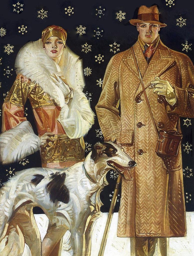 large size paintings: J.C. LEYENDECKER (1874-1951) A Stroll in the Snow