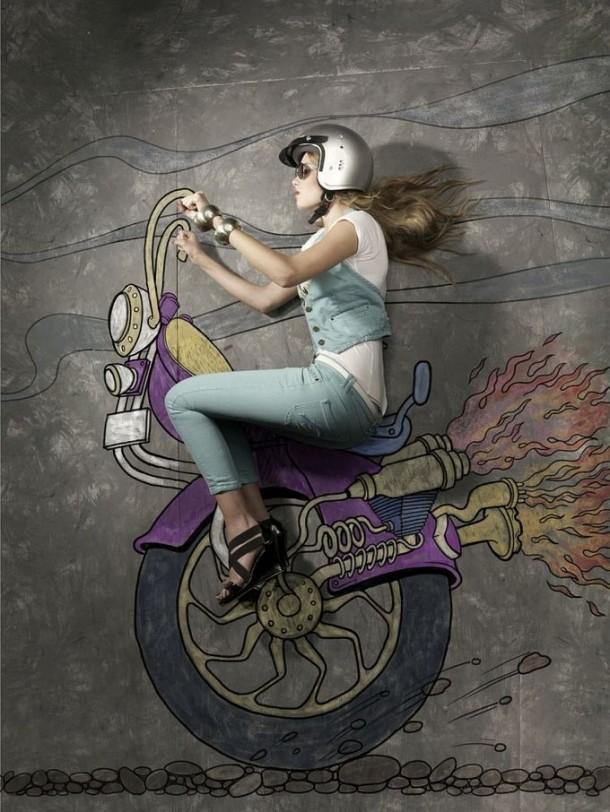 On pavement – photography art and chalk illustration