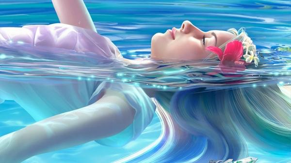 water,women women water flowers artwork 1366x768 wallpaper – 3D Wallpapers – Free Desktop Wallpapers