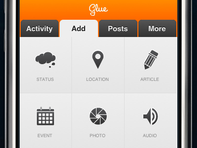 Add Post View for Glue mobile web app by Jordan Dobson