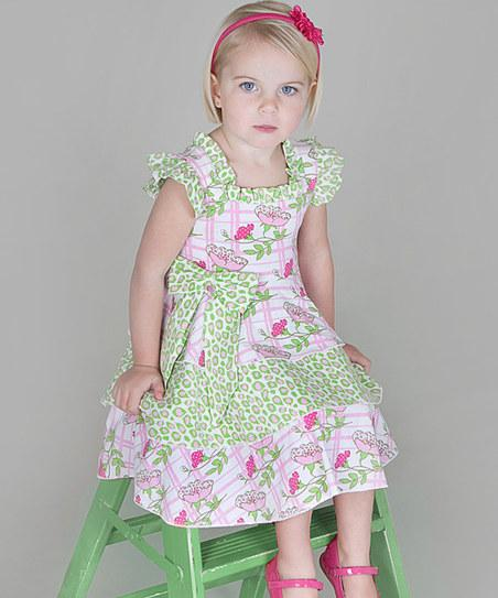 Pink & Green Floral Tiered Dress - Infant, Toddler & Girls | Daily deals for moms, babies and kids