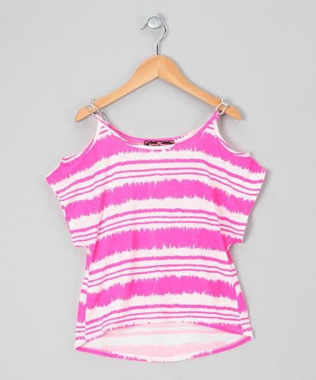 Neon Pink Stripe Cold Shoulder Top | Daily deals for moms, babies and kids