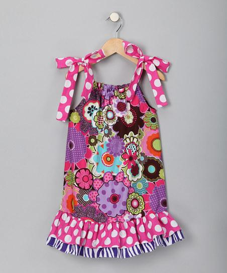Pink & Brown Flower Ruffle Dress - Infant, Toddler & Girls | Daily deals for moms, babies and kids