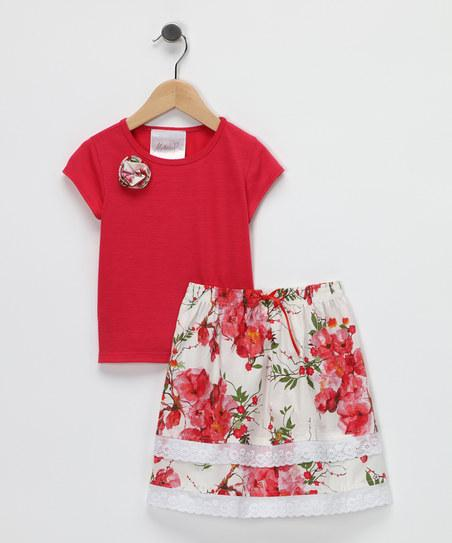 Coral Ruffle Tee & Skirt - Toddler & Girls | Daily deals for moms, babies and kids