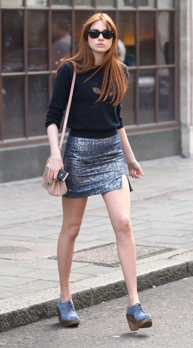 Karen Gillan at the the studios of Radio 1, London, Britain – 31 Aug 2012