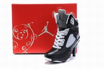 nike air jordan 5 heels white and black for women